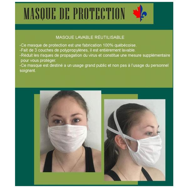 Masque lavable réutilisable
