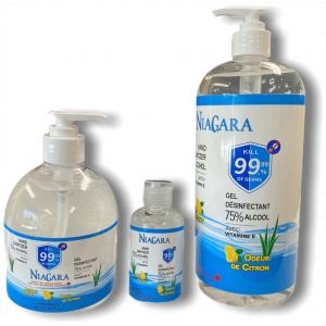NIAGARA - Gel désinfectant pour les mains avec 75% d'alcool - Vitamine E et odeur de citron
