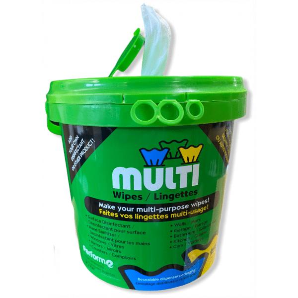 Contenant de 250 lingettes multi-usages (Ajouter le produits désinfectant)